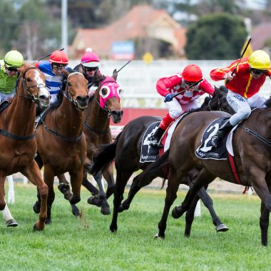 "Voodoo Lad (I Am Invincible) ridden by Brad Rawiller leads the field home in the My Punter.com ""The Heath 1100"" (G3) over 1100m at Caulfield Racecourse. 2 September 2017. Photo credit Darren Tindale / The Image is Everything."